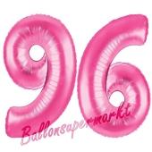 Zahl 96, Pink, Luftballons aus Folie zum 96. Geburtstag, 100 cm, inklusive Helium
