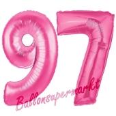 Zahl 97, Pink, Luftballons aus Folie zum 97. Geburtstag, 100 cm, inklusive Helium