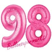 Zahl 98, Pink, Luftballons aus Folie zum 98. Geburtstag, 100 cm, inklusive Helium