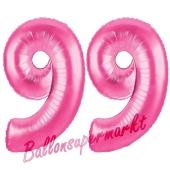 Zahl 99, Pink, Luftballons aus Folie zum 99. Geburtstag, 100 cm, inklusive Helium