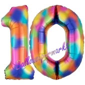 Zahl 10 Regenbogen, Zahlen Luftballons aus Folie zum 10. Geburtstag, inklusive Helium