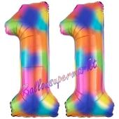 Zahl 11 Regenbogen, Zahlen Luftballons aus Folie zum 11. Geburtstag, inklusive Helium
