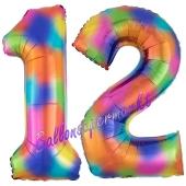 Zahl 12 Regenbogen, Zahlen Luftballons aus Folie zum 12. Geburtstag, inklusive Helium