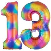 Zahl 13 Regenbogen, Zahlen Luftballons aus Folie zum 13. Geburtstag, inklusive Helium