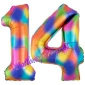 Zahl 14 Regenbogen, Zahlen Luftballons aus Folie zum 14. Geburtstag, inklusive Helium