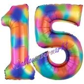 Zahl 15 Regenbogen, Zahlen Luftballons aus Folie zum 15. Geburtstag, inklusive Helium