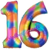 Zahl 16 Regenbogen, Zahlen Luftballons aus Folie zum 16. Geburtstag, inklusive Helium