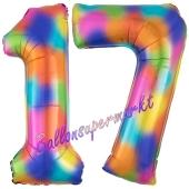 Zahl 17 Regenbogen, Zahlen Luftballons aus Folie zum 17. Geburtstag, inklusive Helium