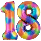 Zahl 18 Regenbogen, Zahlen Luftballons aus Folie zum 18. Geburtstag, inklusive Helium