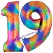 Zahl 19 Regenbogen, Zahlen Luftballons aus Folie zum 19. Geburtstag, inklusive Helium
