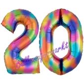 Zahl 20 Regenbogen, Zahlen Luftballons aus Folie zum 20. Geburtstag, inklusive Helium