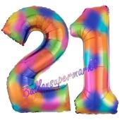 Zahl 21 Regenbogen, Zahlen Luftballons aus Folie zum 21. Geburtstag, inklusive Helium