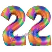 Zahl 22 Regenbogen, Zahlen Luftballons aus Folie zum 22. Geburtstag, inklusive Helium