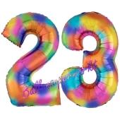 Zahl 23 Regenbogen, Zahlen Luftballons aus Folie zum 23. Geburtstag, inklusive Helium