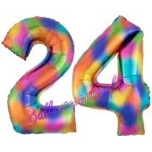 Zahl 24 Regenbogen, Zahlen Luftballons aus Folie zum 24. Geburtstag, inklusive Helium