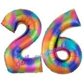 Zahl 26 Regenbogen, Zahlen Luftballons aus Folie zum 26. Geburtstag, inklusive Helium