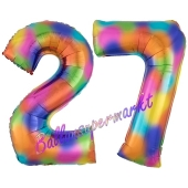 Zahl 27 Regenbogen, Zahlen Luftballons aus Folie zum 27. Geburtstag, inklusive Helium