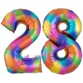Zahl 28 Regenbogen, Zahlen Luftballons aus Folie zum 28. Geburtstag, inklusive Helium