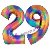 Zahl 29 Regenbogen, Zahlen Luftballons aus Folie zum 29. Geburtstag, inklusive Helium