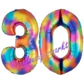 Zahl 30 Regenbogen, Zahlen Luftballons aus Folie zum 30. Geburtstag, inklusive Helium