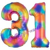 Zahl 31 Regenbogen, Zahlen Luftballons aus Folie zum 31. Geburtstag, inklusive Helium