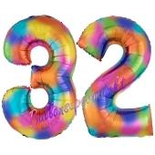 Zahl 32 Regenbogen, Zahlen Luftballons aus Folie zum 32. Geburtstag, inklusive Helium