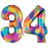 Zahl 34 Regenbogen, Zahlen Luftballons aus Folie zum 34. Geburtstag, inklusive Helium