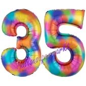 Zahl 35 Regenbogen, Zahlen Luftballons aus Folie zum 35. Geburtstag, inklusive Helium