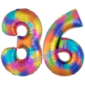 Zahl 36 Regenbogen, Zahlen Luftballons aus Folie zum 36. Geburtstag, inklusive Helium