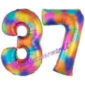 Zahl 37 Regenbogen, Zahlen Luftballons aus Folie zum 37. Geburtstag, inklusive Helium