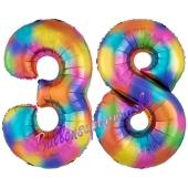 Zahl 38 Regenbogen, Zahlen Luftballons aus Folie zum 38. Geburtstag, inklusive Helium