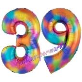 Zahl 39 Regenbogen, Zahlen Luftballons aus Folie zum 39. Geburtstag, inklusive Helium
