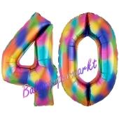 Zahl 40 Regenbogen, Zahlen Luftballons aus Folie zum 40. Geburtstag, inklusive Helium
