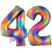 Zahl 42 Regenbogen, Zahlen Luftballons aus Folie zum 42. Geburtstag, inklusive Helium