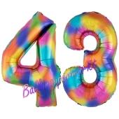 Zahl 43 Regenbogen, Zahlen Luftballons aus Folie zum 43. Geburtstag, inklusive Helium
