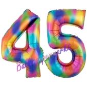 Zahl 45 Regenbogen, Zahlen Luftballons aus Folie zum 45. Geburtstag, inklusive Helium