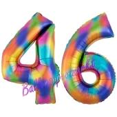 Zahl 46 Regenbogen, Zahlen Luftballons aus Folie zum 46. Geburtstag, inklusive Helium