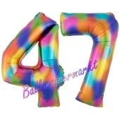 Zahl 47 Regenbogen, Zahlen Luftballons aus Folie zum 47. Geburtstag, inklusive Helium