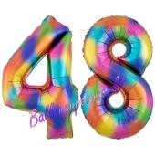 Zahl 48 Regenbogen, Zahlen Luftballons aus Folie zum 48. Geburtstag, inklusive Helium