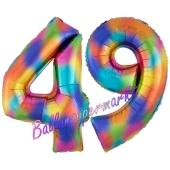 Zahl 49 Regenbogen, Zahlen Luftballons aus Folie zum 49. Geburtstag, inklusive Helium