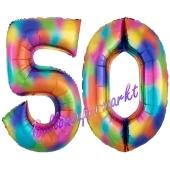 Zahl 50 Regenbogen, Zahlen Luftballons aus Folie zum 50. Geburtstag, inklusive Helium