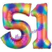 Zahl 51 Regenbogen, Zahlen Luftballons aus Folie zum 51. Geburtstag, inklusive Helium