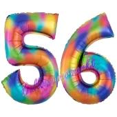 Zahl 56 Regenbogen, Zahlen Luftballons aus Folie zum 56. Geburtstag, inklusive Helium
