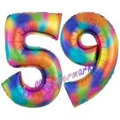 Zahl 59 Regenbogen, Zahlen Luftballons aus Folie zum 59. Geburtstag, inklusive Helium