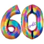 Zahl 60 Regenbogen, Zahlen Luftballons aus Folie zum 60. Geburtstag, inklusive Helium