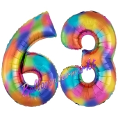 Zahl 63 Regenbogen, Zahlen Luftballons aus Folie zum 63. Geburtstag, inklusive Helium