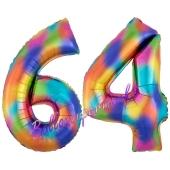 Zahl 64 Regenbogen, Zahlen Luftballons aus Folie zum 64. Geburtstag, inklusive Helium