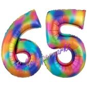 Zahl 65 Regenbogen, Zahlen Luftballons aus Folie zum 65. Geburtstag, inklusive Helium