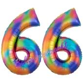 Zahl 66 Regenbogen, Zahlen Luftballons aus Folie zum 66. Geburtstag, inklusive Helium