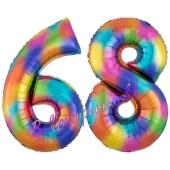Zahl 68 Regenbogen, Zahlen Luftballons aus Folie zum 68. Geburtstag, inklusive Helium